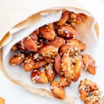 Maple Sesame Almonds (V+GF): An easy recipe for skillet-roasted maple sesame almonds made with just 6 ingredients. #Vegan #GlutenFree | BeamingBaker.com