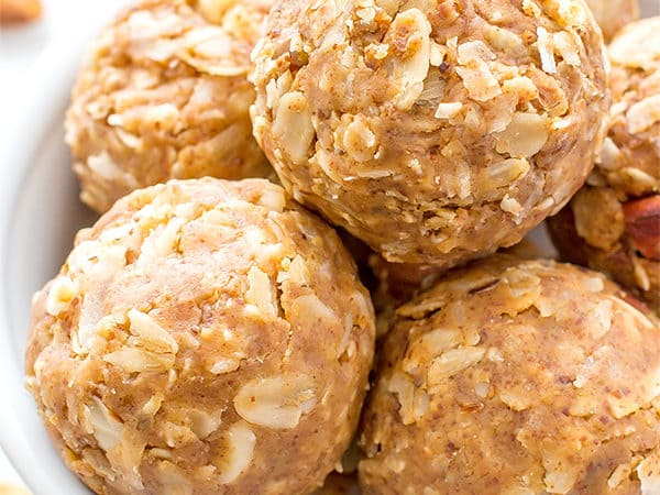 No Bake Almond Butter Coconut Bites (V+GF): Nutty, lightly sweet and satisfying energy bites made from just 6 simple ingredients. BeamingBaker.com #Vegan #Gluten Free