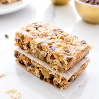 No Bake Chewy Chocolate Chip Granola Bars (Vegan, Gluten Free)