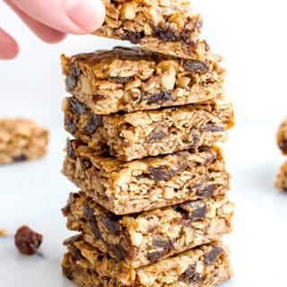 Oatmeal Raisin Cookie Bars (V+GF): an easy recipe for soft, chewy cookie bars made from simple ingredients, bursting with juicy raisins and walnuts. #Vegan #GlutenFree | BeamingBaker.com