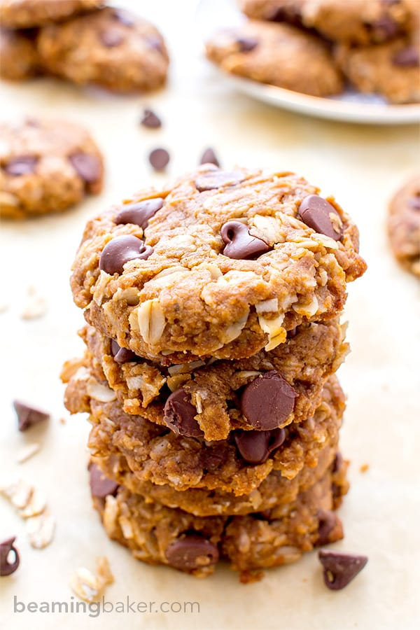 Peanut Butter Chocolate Chip Oatmeal Cookies (Vegan, Gluten Free ...