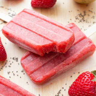 Vegan Strawberry Chia Seed Popsicles (Dairy Free, Gluten Free)