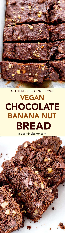 Vegan Chocolate Banana Nut Bread (V+GF): A one bowl recipe for rich, moist and chocolatey banana bread with walnuts. #Vegan #GlutenFree | BeamingBaker.com