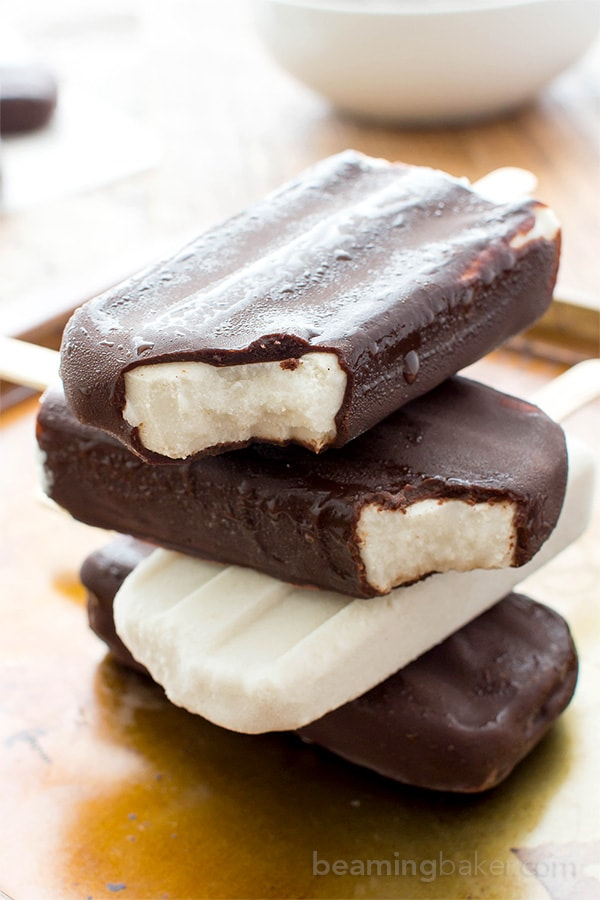 Vegan Ice Cream Bars (V+GF): a 9 ingredient recipe for the BEST decadent chocolate-dipped vegan ice cream bars made with whole ingredients. #Vegan #DairyFree #GlutenFree | BeamingBaker.com