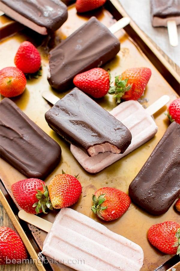 Chocolate-covered Strawberry Ice Cream Bars (V+GF): a 6 ingredient recipe for amazing ice cream bars that taste like chocolate-covered strawberries. #Vegan #DairyFree #Paleo #GlutenFree | BeamingBaker.com