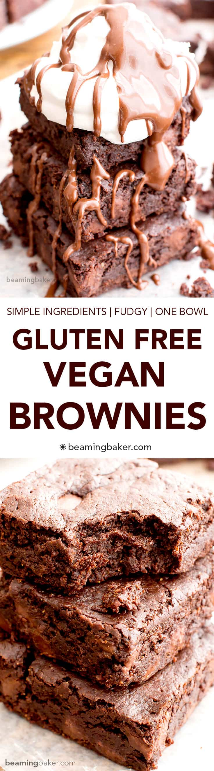 Gluten Free Vegan Brownies (V+GF): a one bowl recipe for the best gluten free vegan brownies made with simple, whole ingredients. #Vegan #GlutenFree #OneBowl | BeamingBaker.com