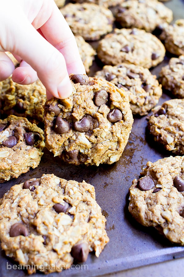 20+ Best Vegan Chocolate Chip Cookies: get ready to enjoy the best vegan chocolate chip cookie recipes! Including vegan oatmeal chocolate chip cookies, easy vegan chocolate chip cookies, vegan gluten free chocolate chip cookies and more! #vegancookies #chocolatechipcookies #veganchocolatechipcookies | Recipes on BeamingBaker.com