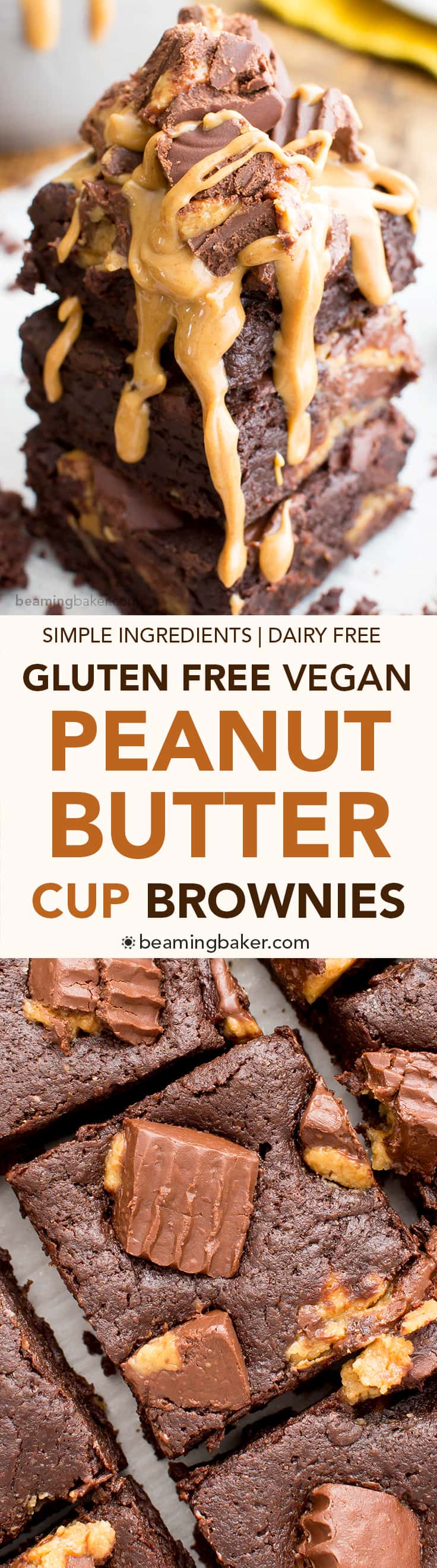 Gluten Free Vegan Peanut Butter Cup Brownies (V+GF): rich, fudgy, decadent brownies stuffed with delicious peanut butter cups. #Vegan #GlutenFree #DairyFree | BeamingBaker.com