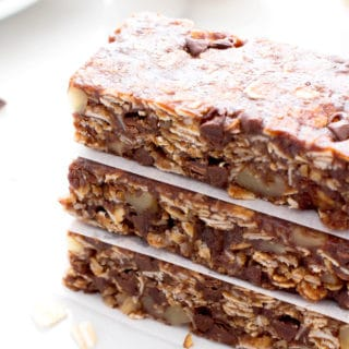 No Bake Double Chocolate Chip Granola Bars (Vegan, Gluten Free, Dairy Free)