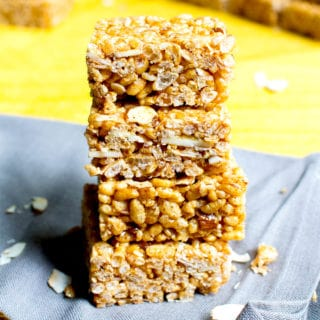 Toasted Coconut Almond Rice Crispy Treats (Vegan, Gluten Free, Dairy Free)