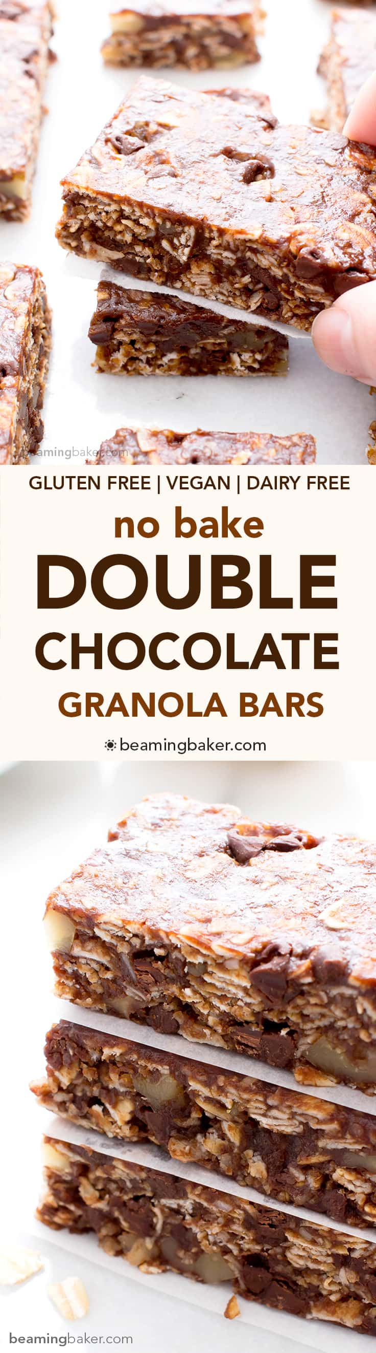 No Bake Double Chocolate Chip Granola Bars (V+GF): an easy recipe for deliciously chewy double chocolate granola bars made with simple ingredients. #Vegan #GlutenFree #DairyFree | BeamingBaker.com