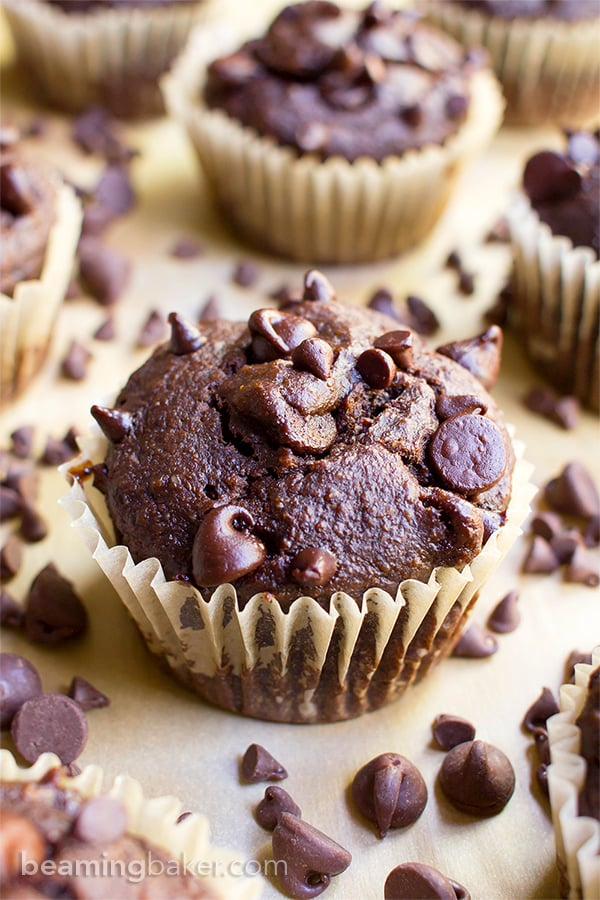 One Bowl Double Chocolate Banana Muffins (V+GF): a one bowl recipe for moist, rich chocolate banana muffins dotted with chocolate chips. #Vegan #OneBowl #GlutenFree #DairyFree | BeamingBaker.com