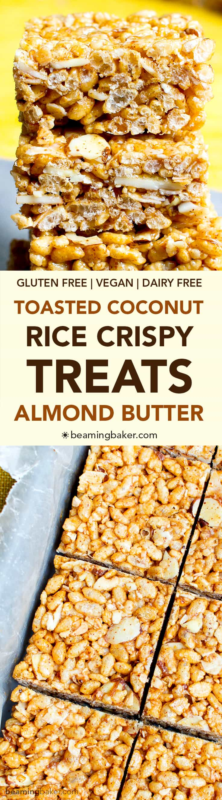 Toasted Coconut Almond Rice Crispy Treats (V+GF): an easy, 5 ingredient recipe for sweetly satisfying, protein-packed toasted coconut rice crispy treats. #Vegan #GlutenFree #DairyFree | BeamingBaker.com