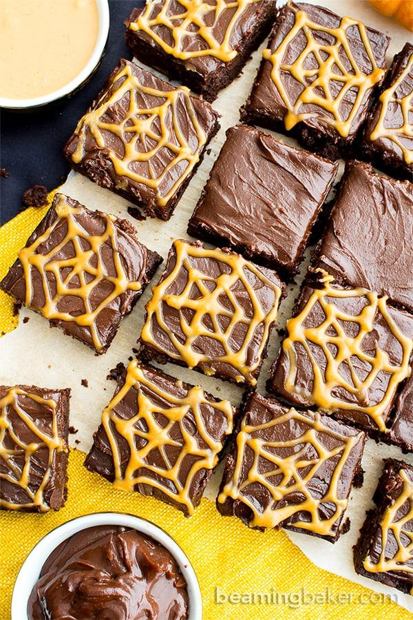 Chocolate Peanut Butter Spiderweb Brownies (V, GF, DF): a spooky Halloween recipe for decadently rich brownies covered in peanut butter spiderwebs! #Vegan #GlutenFree #DairyFree   BeamingBaker.com