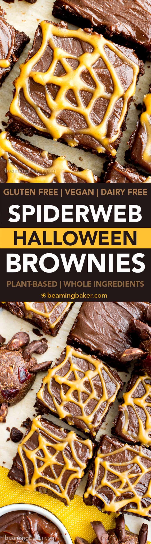 Chocolate Peanut Butter Spiderweb Brownies (Vegan, Gluten Free ...