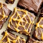 Chocolate Peanut Butter Spiderweb Brownies (V, GF, DF): a spooky Halloween recipe for decadently rich brownies covered in peanut butter spiderwebs! #Vegan #GlutenFree #DairyFree | BeamingBaker.com