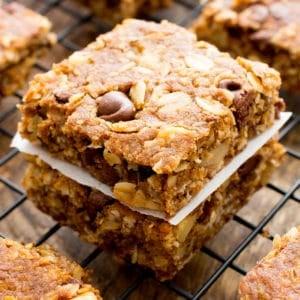 Peanut Butter Chocolate Chip Oatmeal Breakfast Bars (Vegan, Gluten Free, Dairy Free)