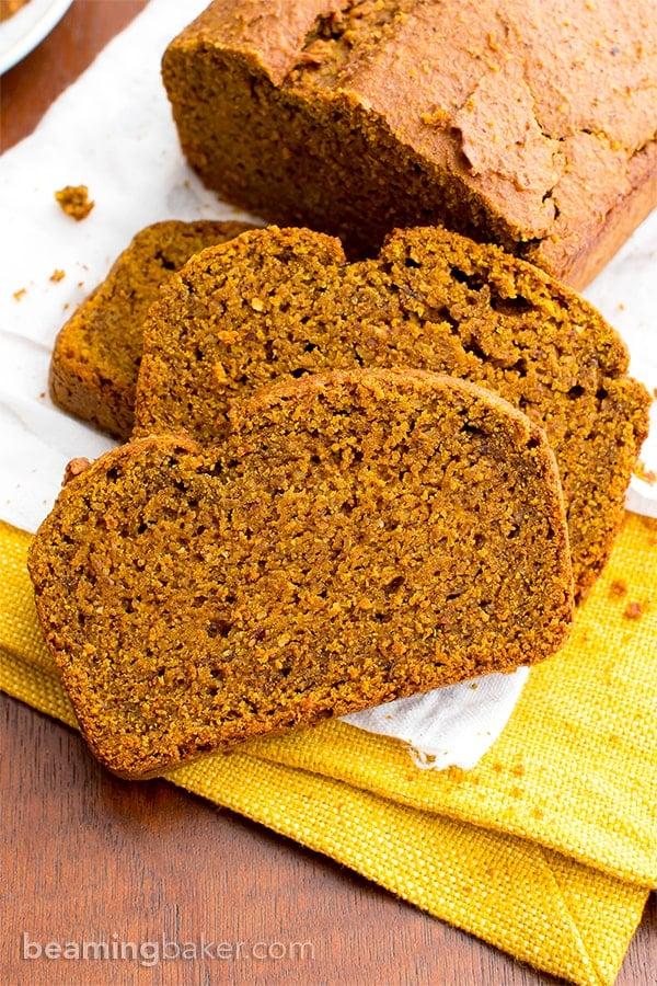 One Bowl Gluten Free Vegan Pumpkin Bread (V, GF, DF): an easy, one bowl recipe for perfectly rich and moist classic pumpkin bread. #Vegan #GlutenFree #DairyFree   BeamingBaker.com