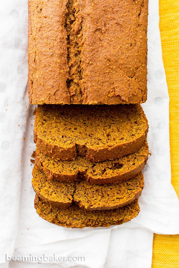 One Bowl Gluten Free Vegan Pumpkin Bread (V, GF, DF): an easy, one bowl recipe for perfectly rich and moist classic pumpkin bread. #Vegan #GlutenFree #DairyFree | BeamingBaker.com