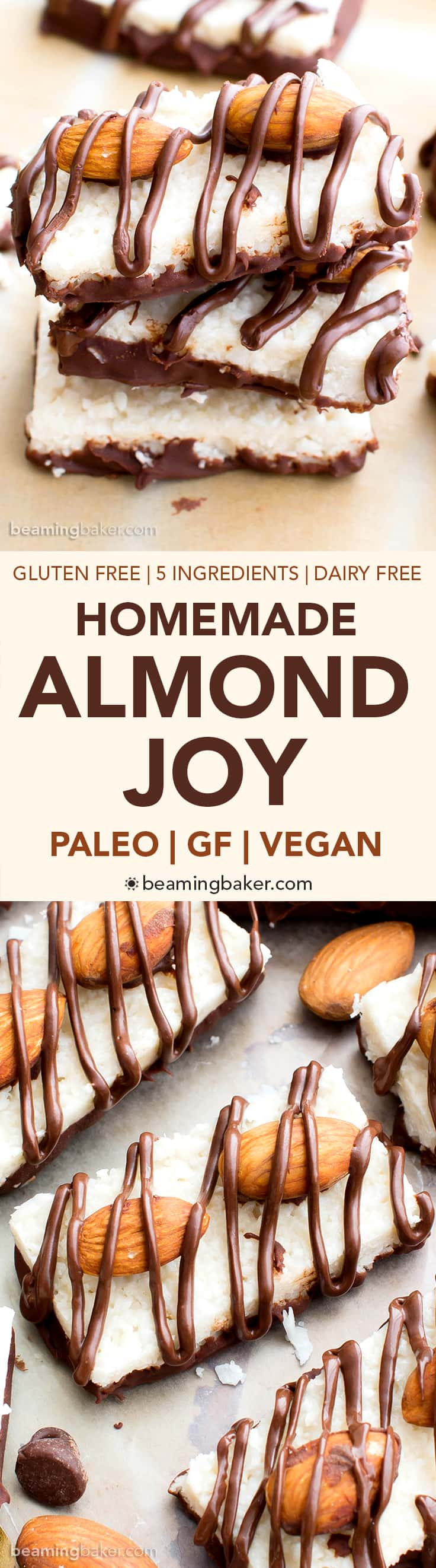 Paleo Almond Joy (V, GF, DF): a 5-ingredient recipe for deliciously satisfying homemade Almond Joy candy bars bursting with coconut and chocolate. #Paleo #Vegan #GlutenFree #DairyFree | BeamingBaker.com | @BeamingBaker