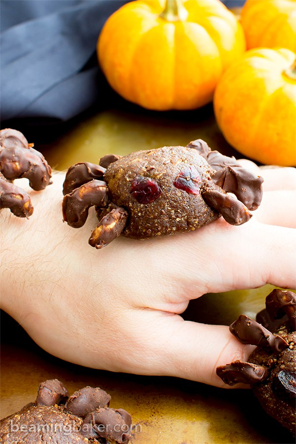 Vegan Halloween Spider Treats (V, GF, Paleo): an 8 ingredient recipe for super fun no bake spider treats packed with fruits and nuts for Halloween! #Vegan #Paleo #GlutenFree #DairyFree | BeamingBaker.com | @BeamingBaker