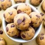 No Bake Pumpkin Chocolate Chip Cookie Dough Bites (Paleo, V, GF): a one bowl recipe for delicious cookie dough bites packed with pumpkin and chocolate chips. #Paleo #Vegan #GlutenFree #DairyFree | BeamingBaker.com