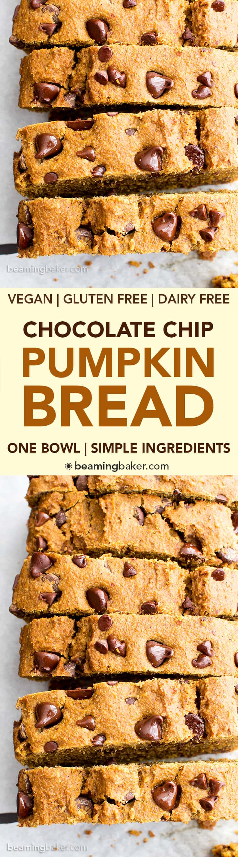 One Bowl Gluten Free Vegan Pumpkin Chocolate Chip Bread (V, GF, DF): an easy, one bowl recipe for perfectly moist pumpkin bread bursting with chocolate chips. #Vegan #GlutenFree #DairyFree   BeamingBaker.com