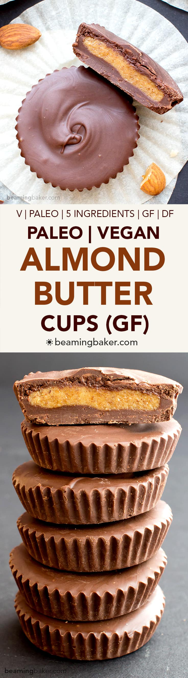 Paleo Almond Butter Cups (V, GF, DF): a 5 ingredient recipe for rich chocolate cups stuffed with smooth almond butter. #Paleo #Vegan #GlutenFree #DairyFree | BeamingBaker.com
