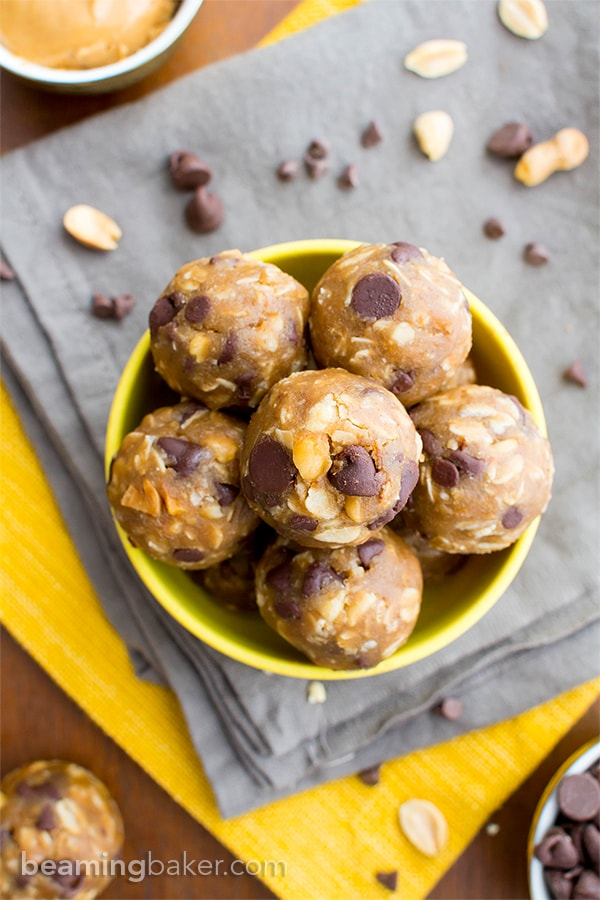 Peanut Butter Chocolate Chip Cookie Dough Bites (V, GF, DF): an easy, whole ingredient recipe for protein-packed cookie dough bites bursting with PB and chocolate flavor. #Vegan #GlutenFree #DairyFree | BeamingBaker.com