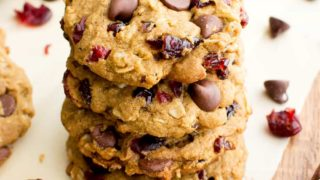 Vegan Cranberry Chocolate Chip Cookies (V, Gluten Free, Oat Flour)