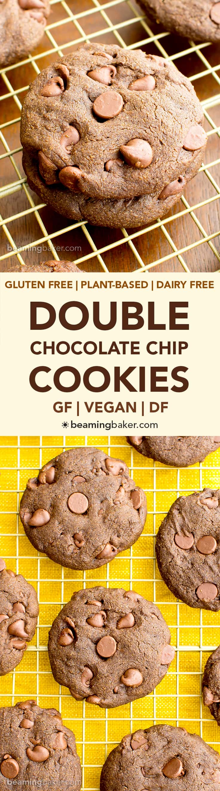 Vegan Double Chocolate Chip Cookies (V, GF, DF): an easy recipe for soft, decadent chocolate cookies packed with chocolate chips. #Vegan #GlutenFree #DairyFree | BeamingBaker.com