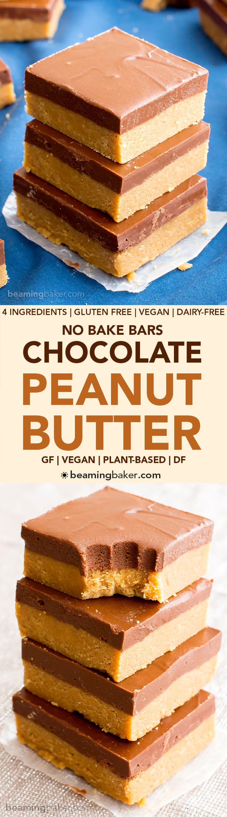 Easy Vegan Chocolate Peanut Butter Bars (V, GF): a 4 ingredient, easy recipe for healthy gluten free peanut butter bars! The best dairy free dessert recipe & no bake! #Vegan #GlutenFree #PeanutButter #DairyFree #Healthy | Recipe at BeamingBaker.com