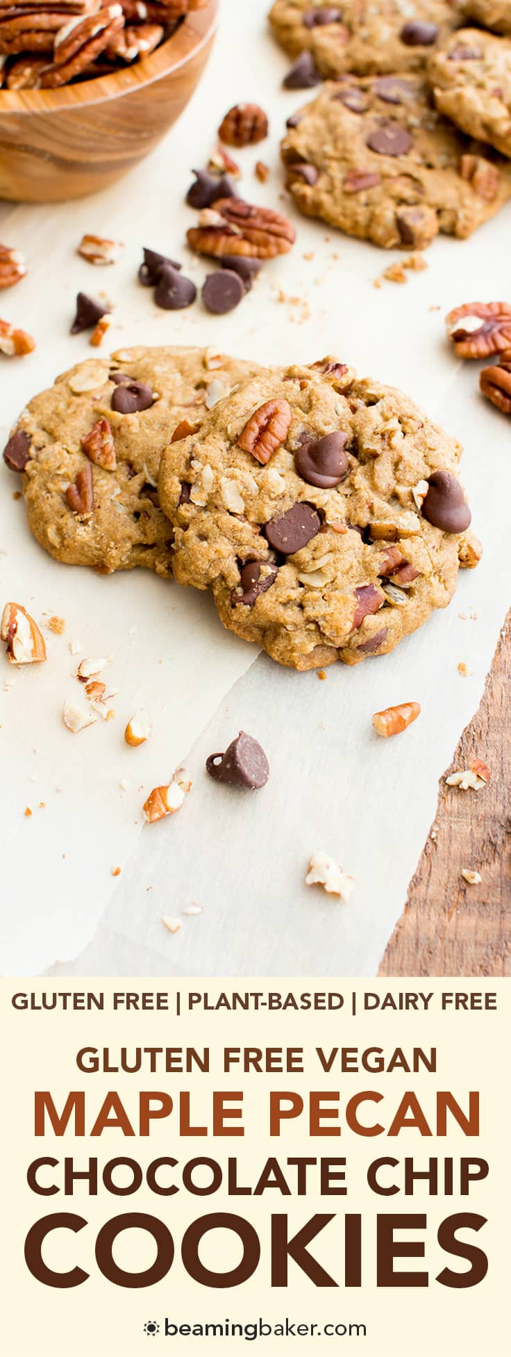... oat flour chocolate chip cookies bursting with maple and pecans. #