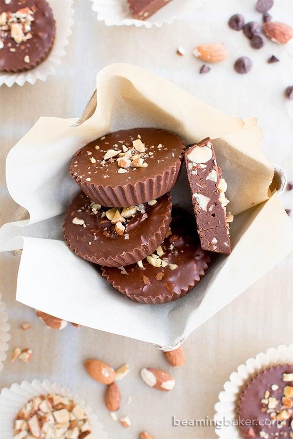 Paleo Chocolate Almond Butter Fudge Cups (V, GF, DF, Paleo): a 3-ingredient recipe for decadently rich almond butter fudge cups packed with almond crunch. #Paleo #Vegan #GlutenFree #DairyFree | BeamingBaker.com