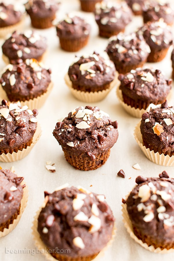 Double Chocolate Banana Almond Mini Muffins (V, GF, DF): a one bowl recipe for perfectly moist chocolate banana mini muffins made with oat flour and almonds. #Vegan #GlutenFree #DairyFree #OatFlour | BeamingBaker.com