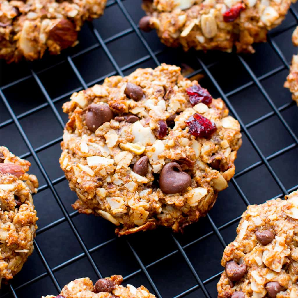Dark Chocolate Almond Coconut Trail Mix Cookies (V, GF, DF): an easy recipe for deliciously textured chewy trail mix cookies bursting with chocolate, almond and coconut. #Vegan #GlutenFree #DairyFree #OatFlour   BeamingBaker.com