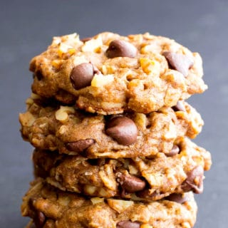 Vegan Almond Butter Chocolate Chip Walnut Oat Cookies (Gluten-Free, Oat Flour, Dairy-Free, Vegan)