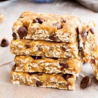 No Bake Almond Butter Chocolate Chip Cookie Dough Granola Bars (Vegan, Gluten Free, Whole Grain, Dairy-Free)