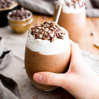 Paleo Mocha Frappe (V, GF, DF): a 4 ingredient recipe for deliciously thick, frosty mocha frappes made with simple ingredients. #Paleo #Vegan #GlutenFree #DairyFree | BeamingBaker.com