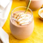 Peanut Butter Hot Chocolate Smoothie (V, GF, DF): a super thick & creamy protein-packed smoothie that tastes like hot chocolate in PB milkshake form. #Vegan #GlutenFree #ProteinPacked #DairyFree | BeamingBaker.com