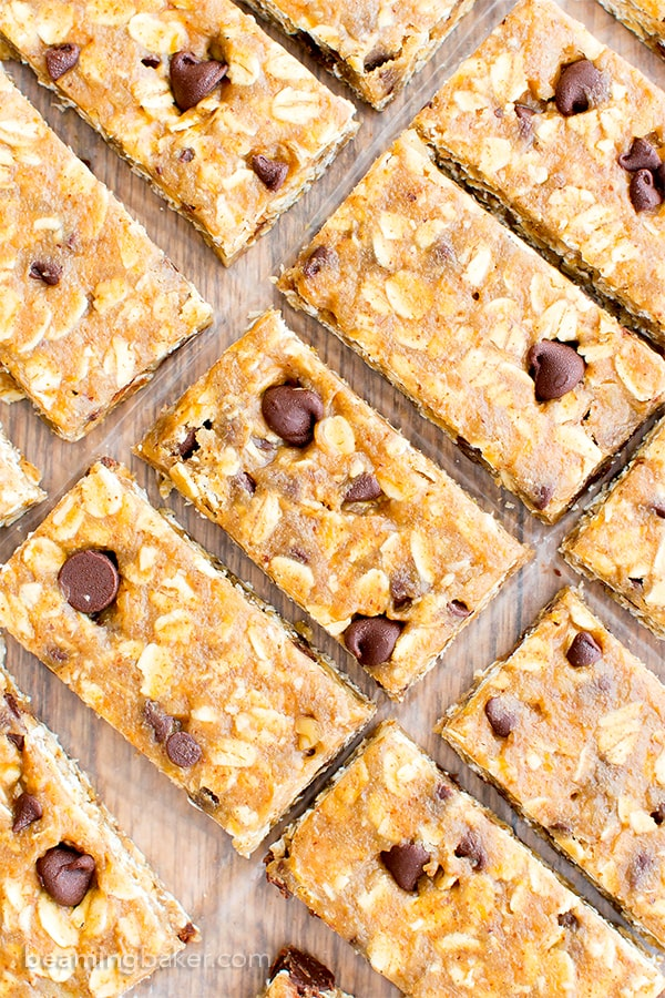 No Bake Almond Butter Chocolate Chip Cookie Dough Granola Bars (V, GF, DF): an easy one bowl recipe for soft and chewy no bake granola bars that taste like cookie dough. #Vegan #GlutenFree #DairyFree | BeamingBaker.com