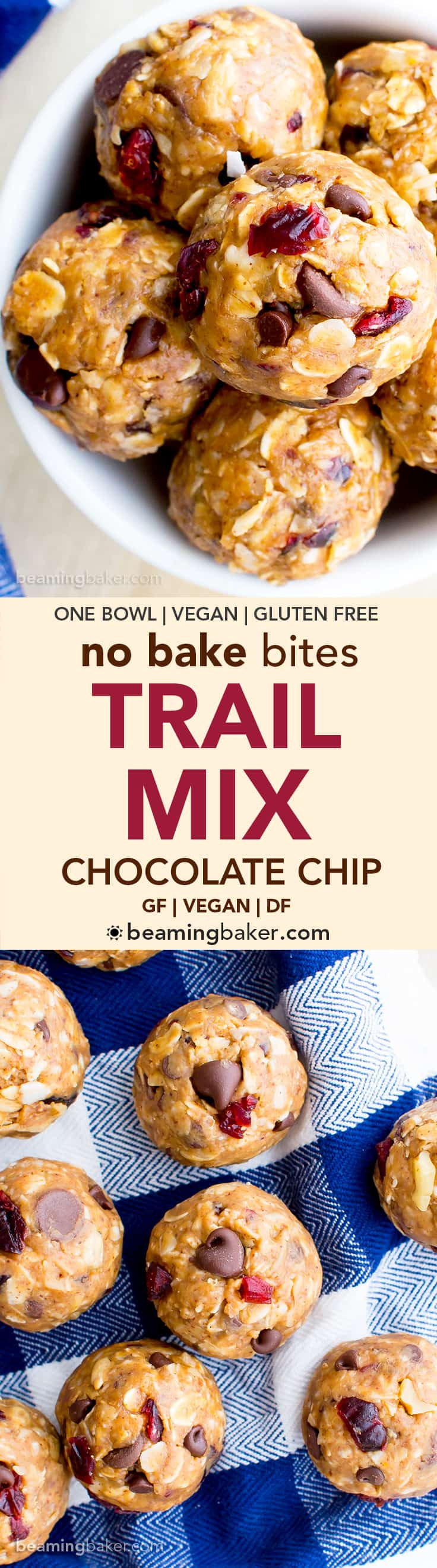No Bake Chocolate Chip Trail Mix Energy Bites (V, GF, DF): a one bowl recipe for protein-packed energy bites bursting with whole ingredients. #Vegan #GlutenFree #DairyFree   BeamingBaker.com