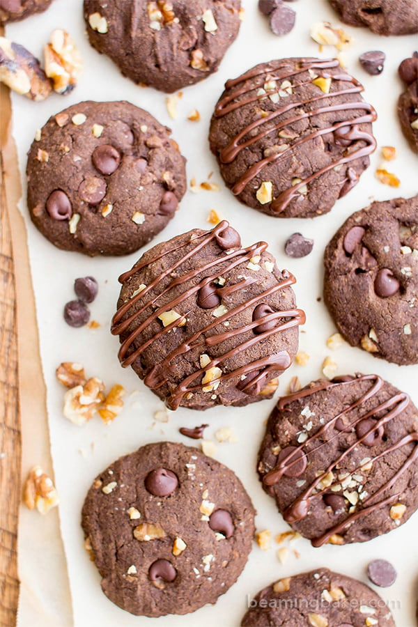 Drizzled Chocolate Walnut Oat Flour Cookies (V, GF, DF): an easy recipe for decadent, double chocolate oat flour cookies soft-baked to perfection. #Vegan #GlutenFree #DairyFree   BeamingBaker.com