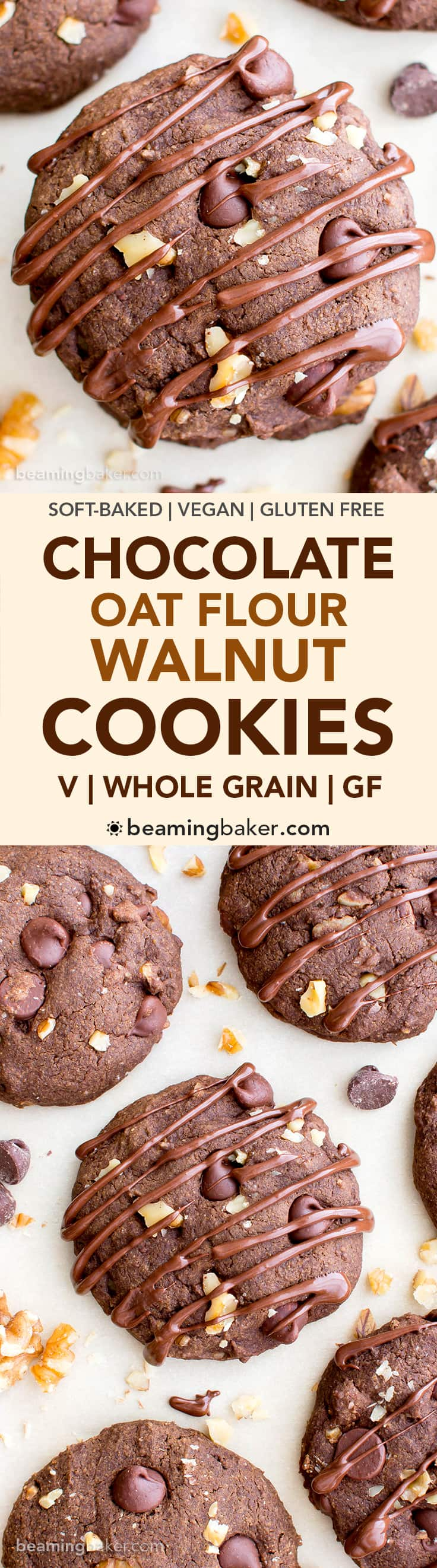 Drizzled Chocolate Walnut Oat Flour Cookies (V, GF, DF): an easy recipe for decadent, double chocolate oat flour cookies soft-baked to perfection. #Vegan #GlutenFree #DairyFree | BeamingBaker.com