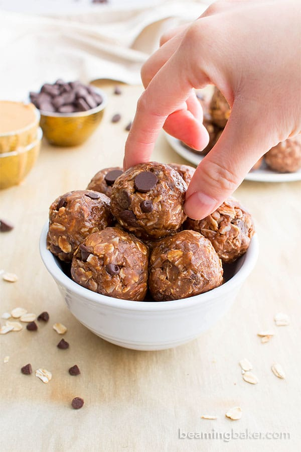 No Bake Double Chocolate Peanut Butter Coconut Energy Bites (V, GF): an easy, one bowl recipe for deliciously protein-packed chocolate peanut butter energy bites. #Vegan #GlutenFree #DairyFree | BeamingBaker.com