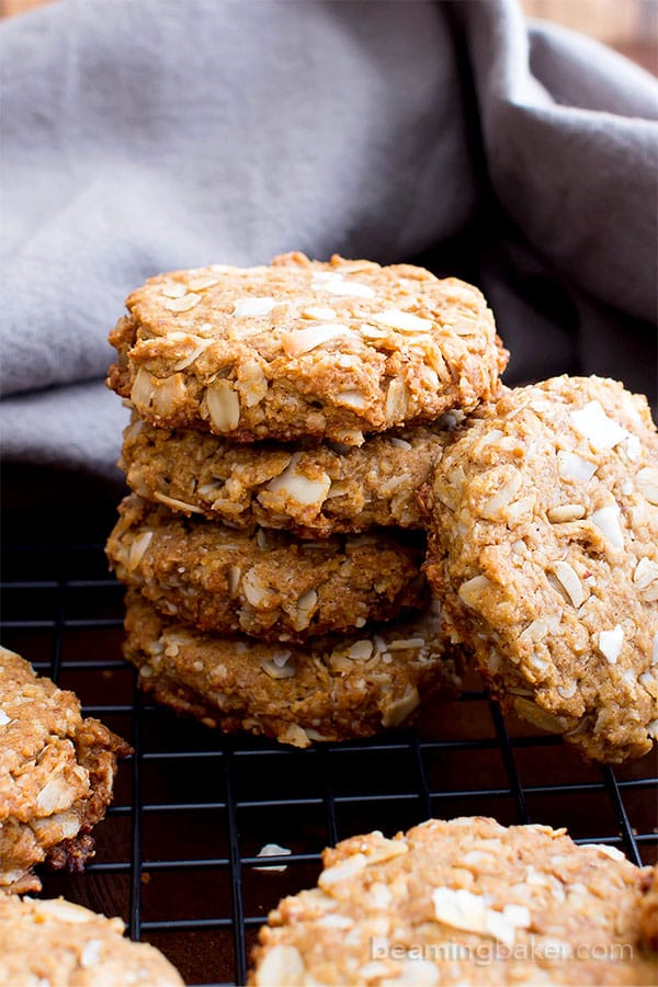 Peanut Butter Coconut Oatmeal Cookies (V, GF): an easy recipe for deliciously thick, chewy peanut butter cookies bursting with coconut and oats. #Vegan #GlutenFree #WholeGrain #OatFlour #DairyFree | BeamingBaker.com