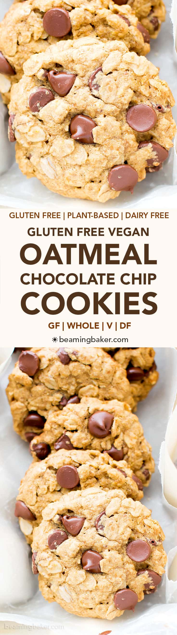 Gluten Free Vegan Oatmeal Chocolate Chip Cookies (GF): a simple vegan oatmeal chocolate chip cookies recipe that yields soft & buttery oatmeal cookies packed with melty chocolate chips! Dairy-Free, Refined Sugar-Free. #OatmealCookies #GlutenFree #Vegan #ChocolateChip | Recipe at BeamingBaker.com