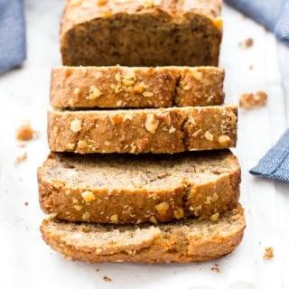 One Bowl Vegan Gluten Free Banana Nut Bread (V, GF, Oat Flour, Dairy-Free)