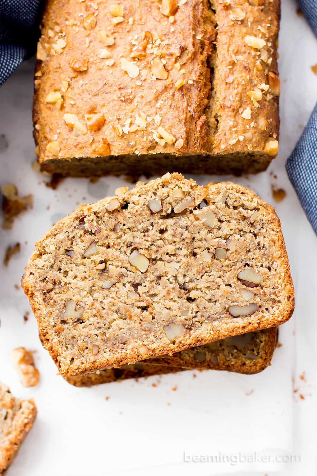 One Bowl Vegan Gluten Free Banana Nut Bread (V, GF, DF): an easy recipe for perfectly moist banana bread packed with walnuts and bursting with banana flavor! #Vegan #GlutenFree #OatFlour #DairyFree | BeamingBaker.com