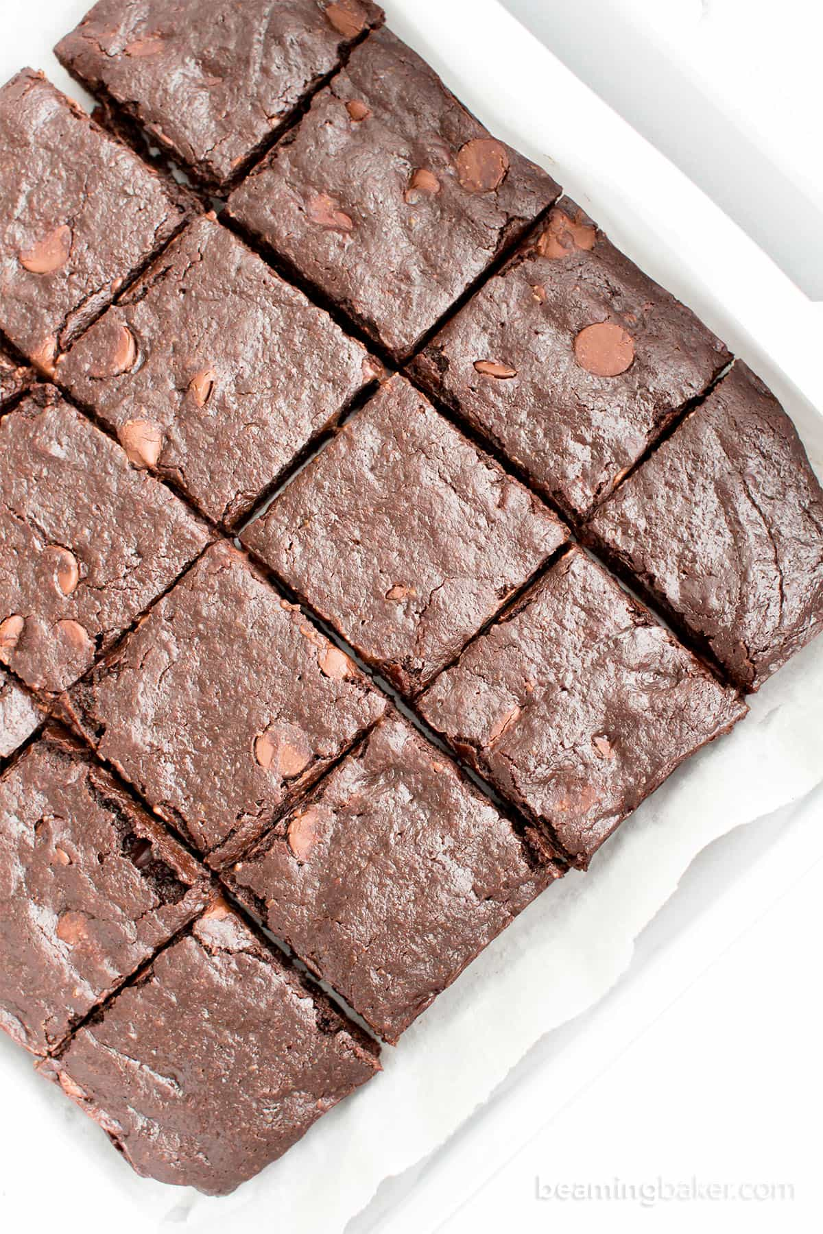 Ultimate Fudgy Paleo Vegan Brownies (V, GF, DF): an easy, one bowl recipe for seriously fudgy, super moist paleo brownies bursting with rich chocolate flavor. #Vegan #GlutenFree #DairyFree | BeamingBaker.com